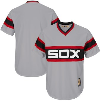 Men's Chicago White Sox Majestic Blank Gray Big & Tall Cooperstown Collection Cool Base Replica Team Jersey