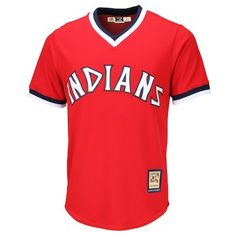 Men's Cleveland Indians Majestic Blank Red Alternate Cooperstown Cool Base Team Jersey