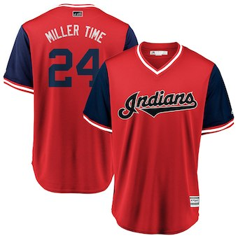 Men's Cleveland Indians 24 Andrew Miller Miller Time Majestic Red 2018 Players' Weekend Cool Base Jersey