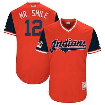 Men's Cleveland Indians 12 Francisco Lindor Mr. Smile Majestic Red 2018 Players' Weekend Authentic Jersey