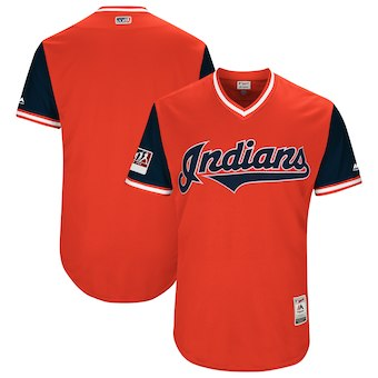Men's Cleveland Indians Blank Majestic Red 2018 Players' Weekend Authentic Team Jersey