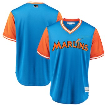 Men's Miami Marlins Blank Majestic Light Blue 2018 Players' Weekend Team Cool Base Jersey
