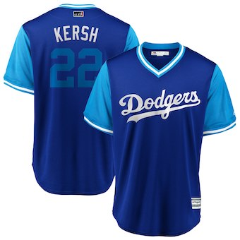Men's Los Angeles Dodgers 22 Clayton Kershaw Kersh Majestic Royal 2018 Players' Weekend Cool Base Jersey