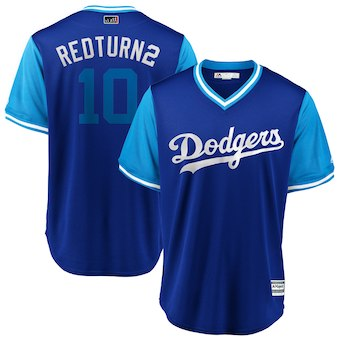 Men's Los Angeles Dodgers 10 Justin Turner Redturn2 Majestic Royal 2018 Players' Weekend Cool Base Jersey