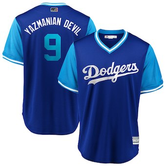 Men's Los Angeles Dodgers 9 Yasmani Grandal Yazmanian Devil Majestic Royal 2018 Players' Weekend Cool Base Jersey