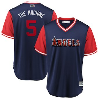 Men's Los Angeles Angels 5 Albert Pujols The Machine Majestic Navy 2018 Players' Weekend Cool Base Jersey
