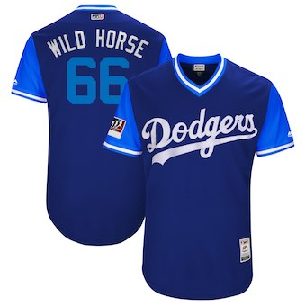 Men's Los Angeles Dodgers 66 Yasiel Puig Wild Horse Majestic Royal 2018 Players' Weekend Authentic Jersey
