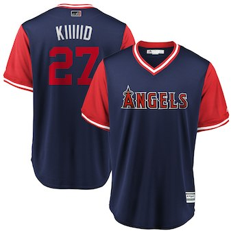 Men's Los Angeles Angels 27 Mike Trout Kiiiiid Majestic Navy 2018 Players' Weekend Cool Base Jersey