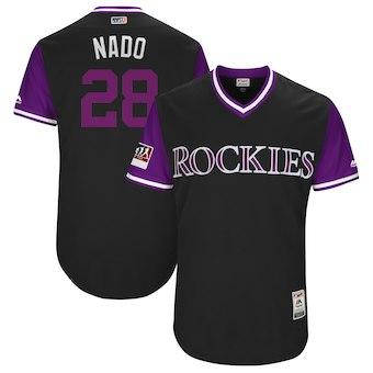 Men's Colorado Rockies 28 Nolan Arenado Nado Majestic Black 2018 Players' Weekend Authentic Jersey