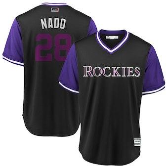 Men's Colorado Rockies 28 Nolan Arenado Nado Majestic Black 2018 Players' Weekend Cool Base Jersey