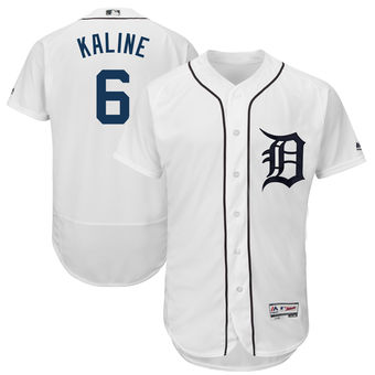 Men's Detroit Tigers 6 Al Kaline Majestic White 2018 Home Flex Base Authentic Collection Player Jersey