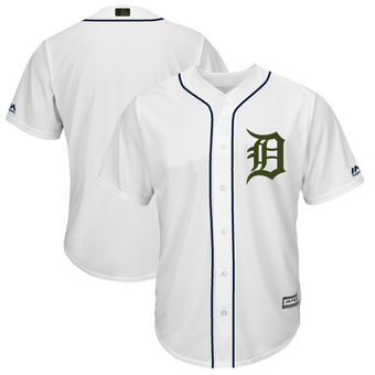 Men's Detroit Tigers Blank Majestic White 2018 Memorial Day Cool Base Team Jersey