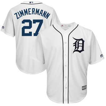 Men's Detroit Tigers 27 Jordan Zimmermann Majestic White Cool Base Player Jersey