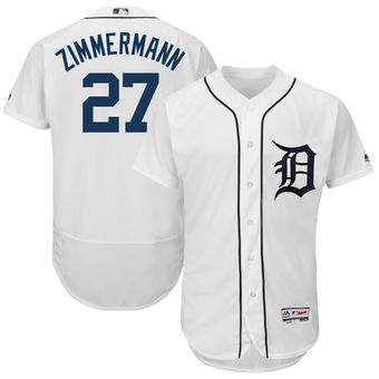 Men's Detroit Tigers 27 Jordan Zimmermann Majestic White 2018 Home Flex Base Authentic Collection Player Jersey