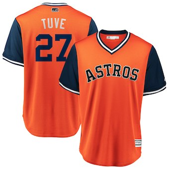 Men's Houston Astros 27 Jose Altuve Tuve Majestic Orange 2018 Players' Weekend Cool Base Jersey