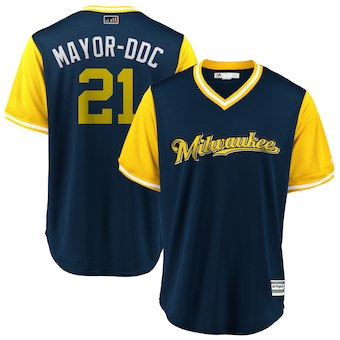 Men's Milwaukee Brewers 21 Travis Shaw Mayor-DDC Majestic Navy 2018 Players' Weekend Cool Base Jersey