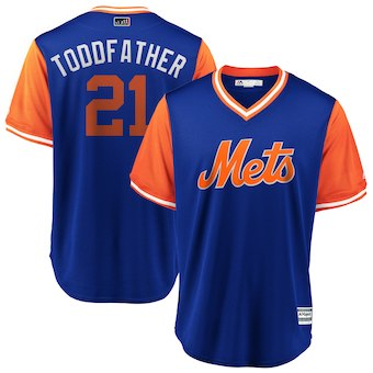 Men's New York Mets 21 Todd Frazier Toddfather Majestic Royal 2018 Players' Weekend Cool Base Jersey