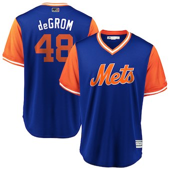 Men's New York Mets 48 Jacob deGrom deGrom Majestic Royal 2018 Players' Weekend Cool Base Jersey