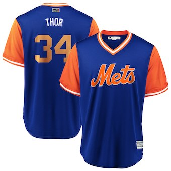 Men's New York Mets 34 Noah Syndergaard Thor Majestic Royal 2018 Players' Weekend Cool Base Jersey
