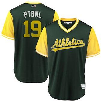 Men's Oakland Athletics 19 Josh Phegley PTBNL Green 2018 Players' Weekend Cool Base Jersey