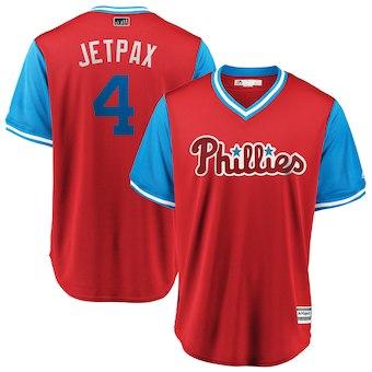 Men's Philadelphia Phillies 4 Scott Kingery Jetpax Majestic Scarlet 2018 Players' Weekend Cool Base Jersey