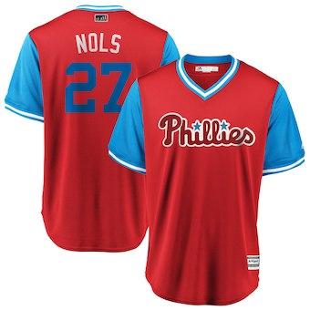 Men's Philadelphia Phillies 27 Aaron Nola Nols Majestic Scarlet 2018 Players' Weekend Cool Base Jersey