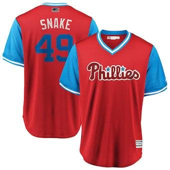 Men's Philadelphia Phillies 49 Jake Arrieta Snake Majestic Scarlet 2018 Players' Weekend Cool Base Jersey