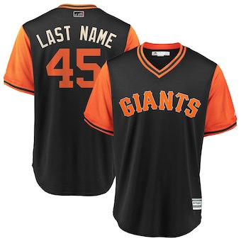 Men's San Francisco Giants 45 Derek Holland Last Name Majestic Black 2018 Players' Weekend Cool Base Jersey