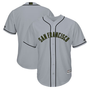 Men's San Francisco Giants Blank Majestic Gray 2018 Memorial Day Cool Base Team Jersey