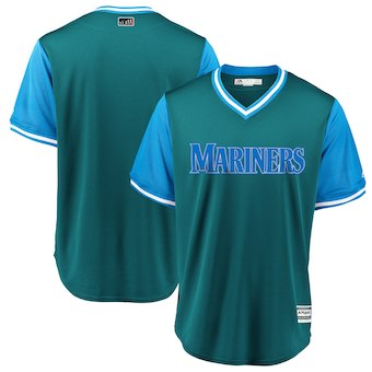 Men's Seattle Mariners Blank Majestic Aqua 2018 Players' Weekend Team Cool Base Jersey