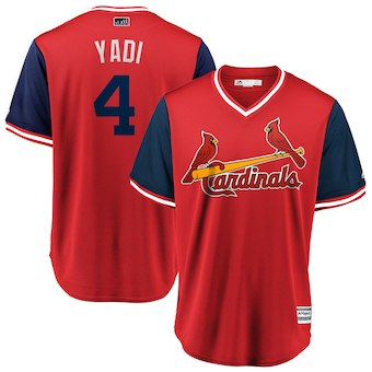 Men's St. Louis Cardinals 4 Yadier Molina Yadi Majestic Red 2018 Players' Weekend Cool Base Jersey