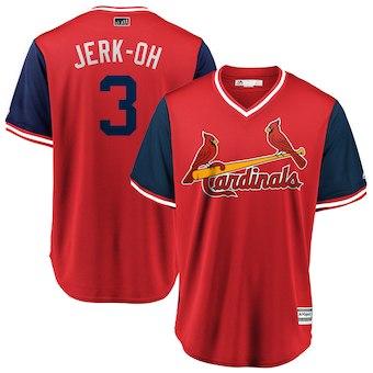 Men's St. Louis Cardinals 3 Jedd Gyorko Jerk-Oh Majestic Red 2018 Players' Weekend Cool Base Jersey
