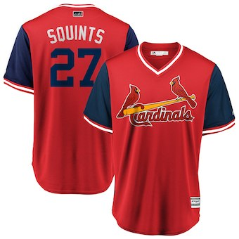 Men's St. Louis Cardinals 27 Brett Cecil Squints Majestic Red 2018 Players' Weekend Cool Base Jersey