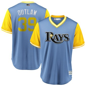 Men's Tampa Bay Rays 39 Kevin Kiermaier Outlaw Majestic Light Blue 2018 Players' Weekend Cool Base Jersey