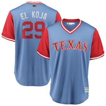 Men's Texas Rangers 29 Adrian Beltre El Koja Majestic Light Blue 2018 Players' Weekend Cool Base Jersey