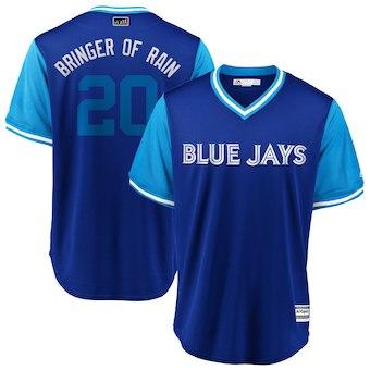 Men's Toronto Blue Jays 20 Josh Donaldson Bringer of Rain Majestic Royal 2018 Players' Weekend Cool Base Jersey