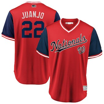 Mens Washington Nationals 22 Juan Soto Juanjo Majestic Red 2018 Players Weekend Cool Base Jersey