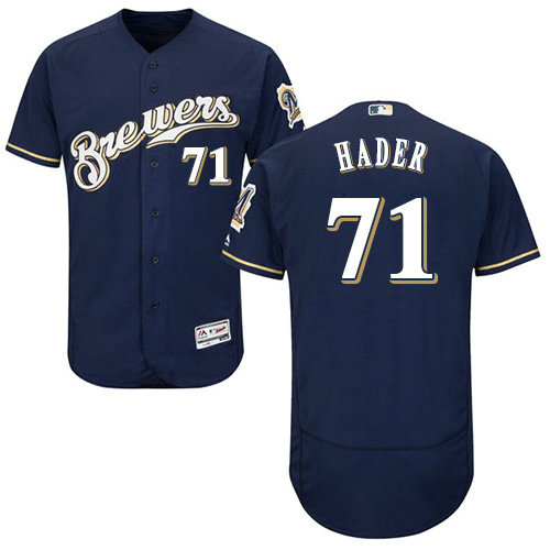 Milwaukee Brewers 71 Josh Hader Navy Blue Flexbase Authentic Collection Stitched Baseball Jersey