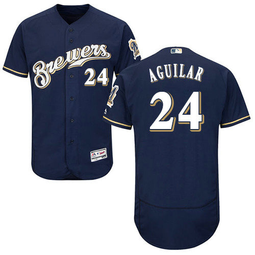 Milwaukee Brewers 24 Jesus Aguilar Navy Blue Flexbase Authentic Collection Stitched Baseball Jersey