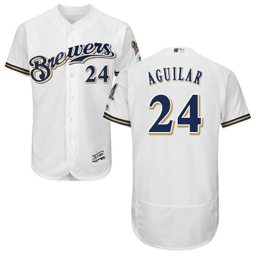 Milwaukee Brewers 24 Jesus Aguilar White Flexbase Authentic Collection Stitched Baseball Jersey