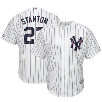 New York Yankees 27 Giancarlo Stanton Majestic White 2018 Stars & Stripes Cool Base Player Jersey