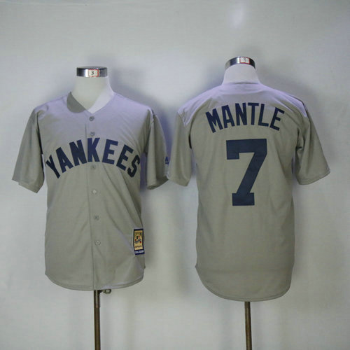 New York Yankees 7 Mickey Mantle Majestic Gray Road Cool Base Cooperstown Collection Player Jersey