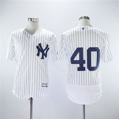 New York Yankees 40 Luis Severino Majestic White Strip Authentic Collection Stitched MLB Jersey