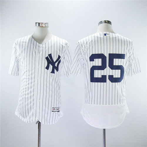 New York Yankees 25 Gleyber Torres Majestic White Strip Authentic Collection Stitched MLB Jersey