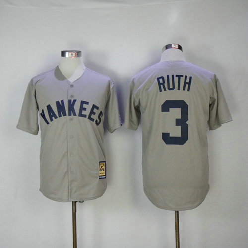 New York Yankees 3 Babe Ruth Majestic Gray Road Cool Base Cooperstown Collection Player Jersey