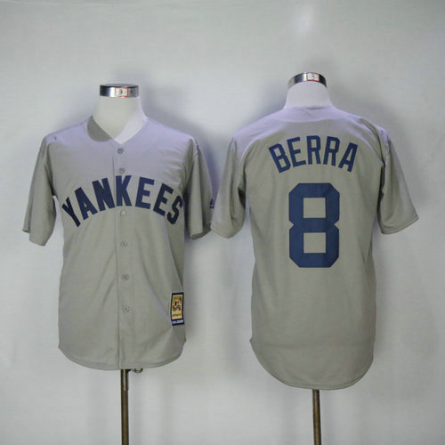 New York Yankees 8 Yogi Berra Majestic Gray Road Cool Base Cooperstown Collection Player Jersey