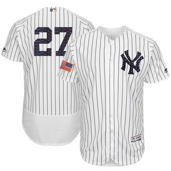 New York Yankees 27 Giancarlo Stanton Majestic White 2018 Stars & Stripes Flex Base Player Jersey