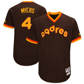 San Diego Padres 4 Wil Myers Majestic Brown 1983 Turn Back the Clock Authentic Player Jersey