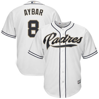 San Diego Padres 8 Erick Aybar Majestic Home White Cool Base Replica Player Jersey