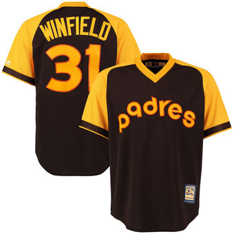 San Diego Padres 31 Dave Winfield Majestic Brown Alternate Cool Base Cooperstown Collection Player Jersey
